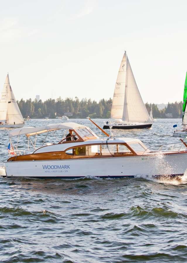 Boat cruising on lake