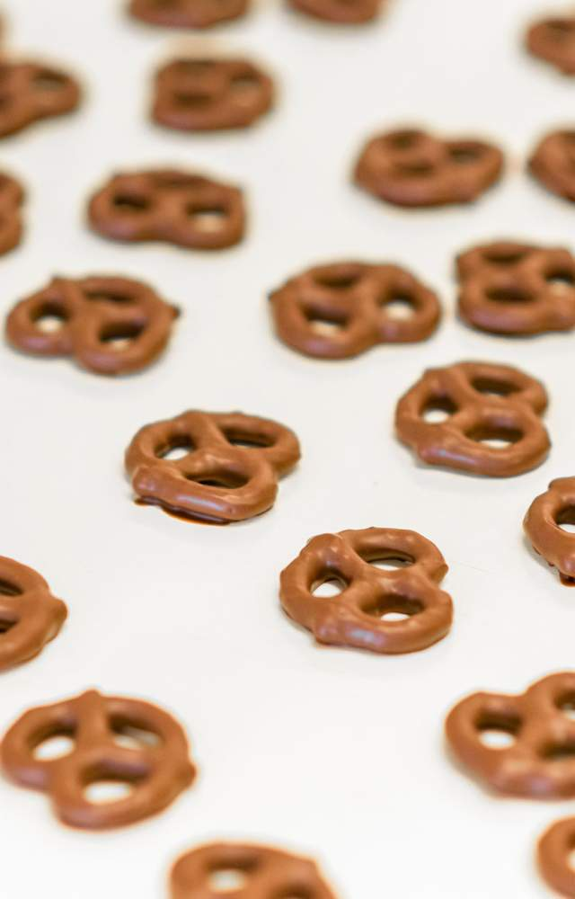 Chocolate covered pretzels at the South Bend Chocolate factory
