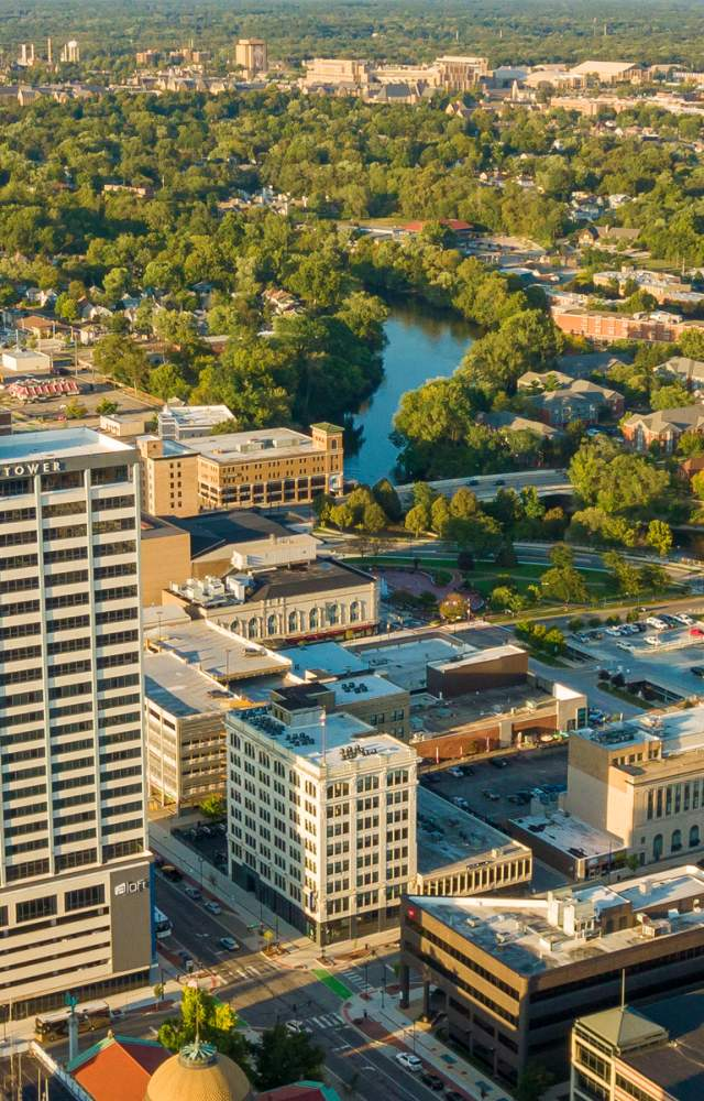 An aerial view of downtown South Bend, the St. Joseph River and the University of Notre Dame