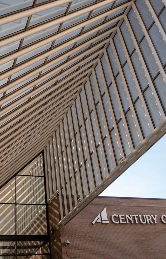 An exterior shot of the Century Center Convention Center