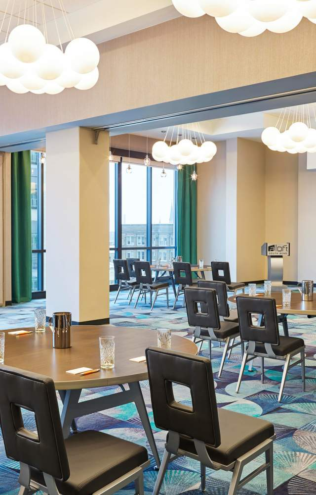 Aloft hotel's meeting space with great views of downtown South Bend