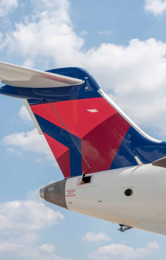 A close up of a plane at the South Bend International Airport