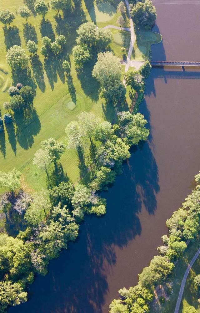 An aerial shot of Eberhart golf course