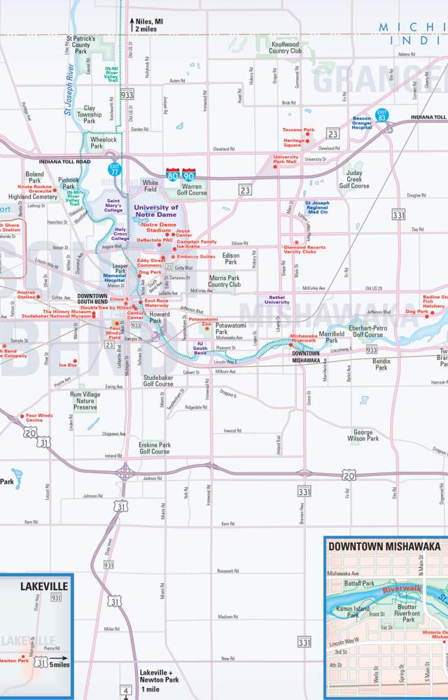 A map of St. Joseph County