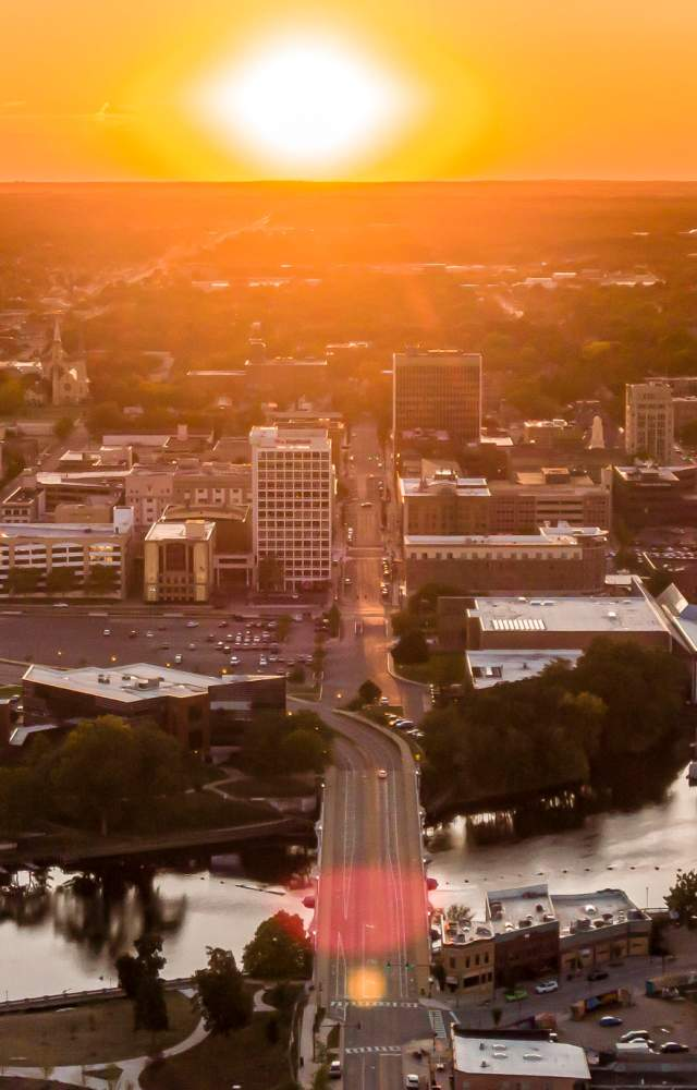 An aerial view of downtown South Bend at sunset