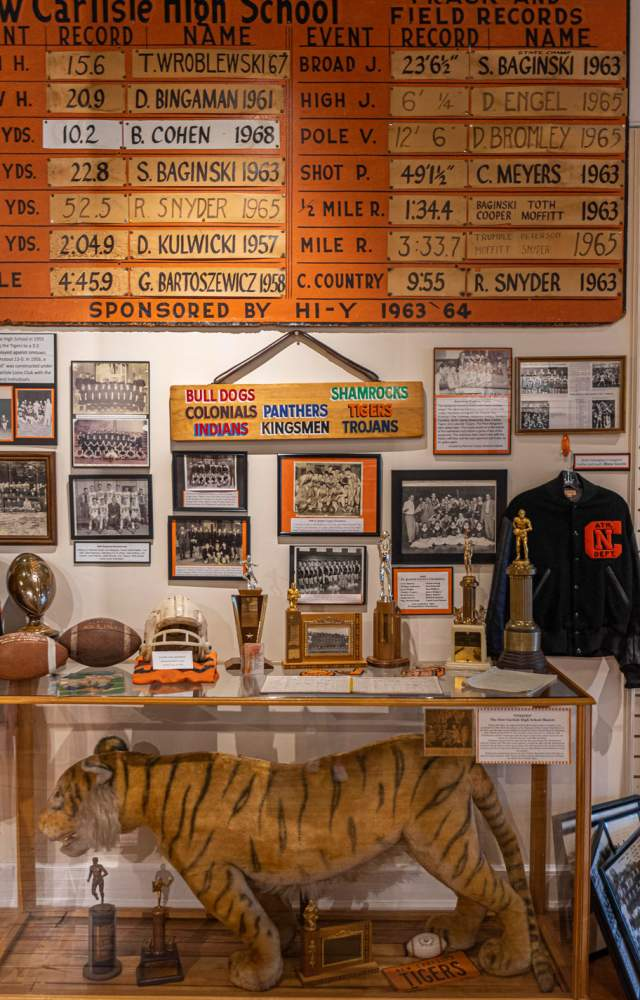 Historical high school memorabilia from the New Carlisle History Museum