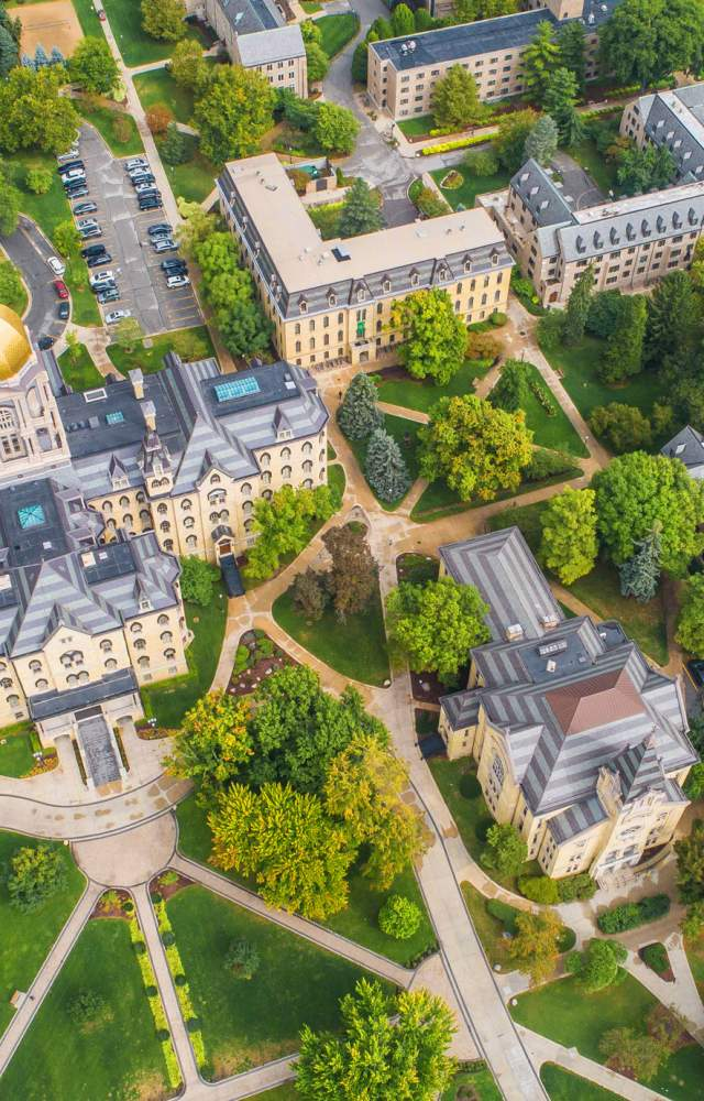 An aerial shot of the University of Notre Dame