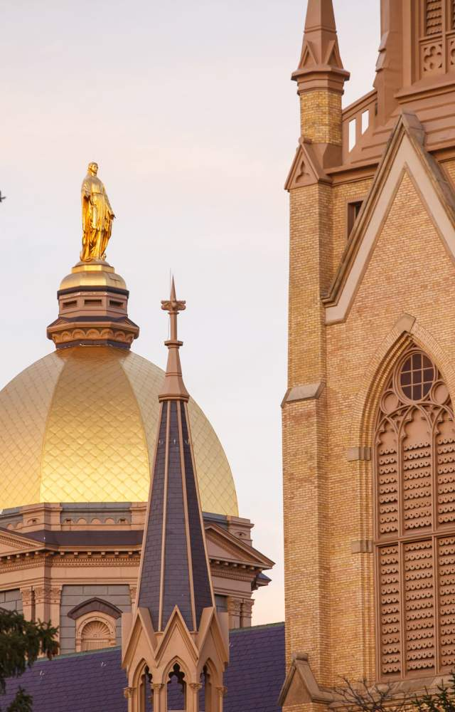 The Notre Dame Golden Dome and Basilica