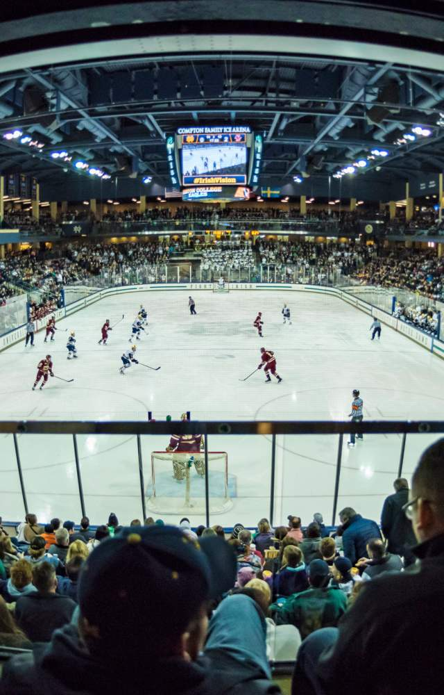 A wideshot of Compton Family Icea Arena during a hockey game