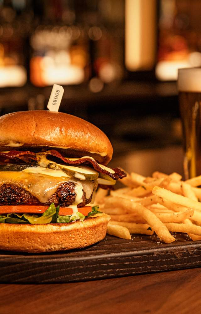 A burger, fries and beer from Rohrs