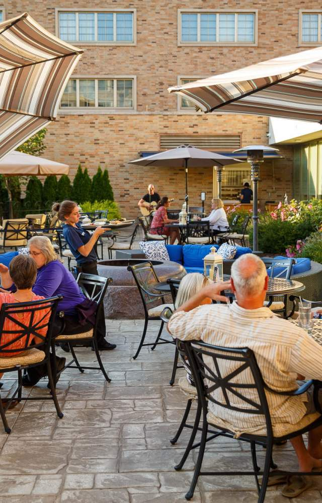 The Wind Family Terrace is an patio space at The Morris Inn on University of Notre Dame campus