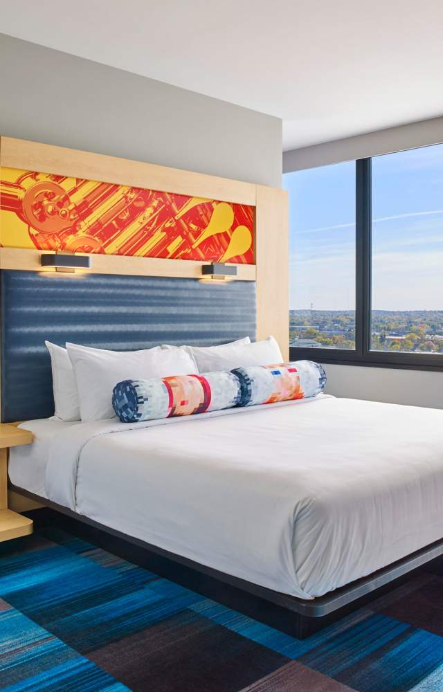 A suite with panoramic views at the Aloft South Bend