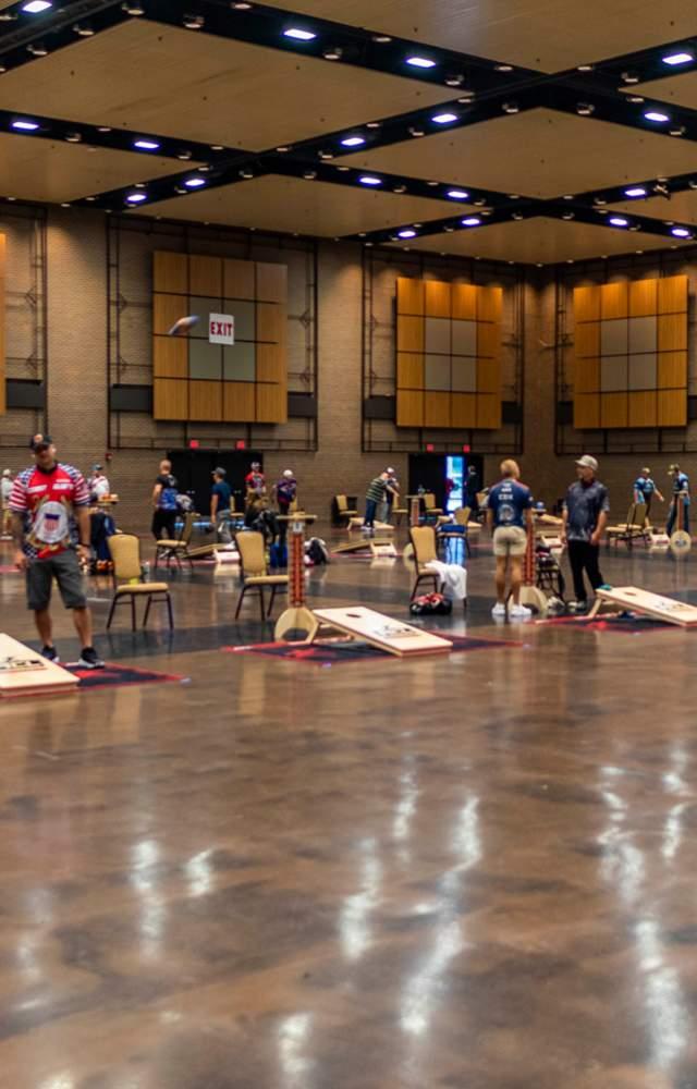 A cornhole tournament at  Century Center