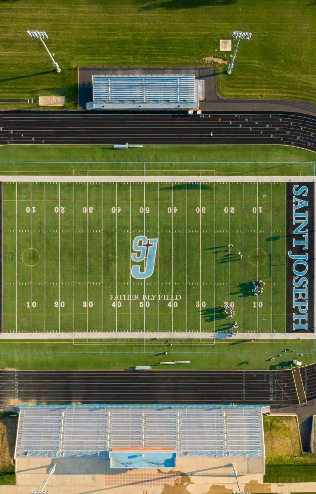 An aerial shot of St. Joseph Highschool football stadium