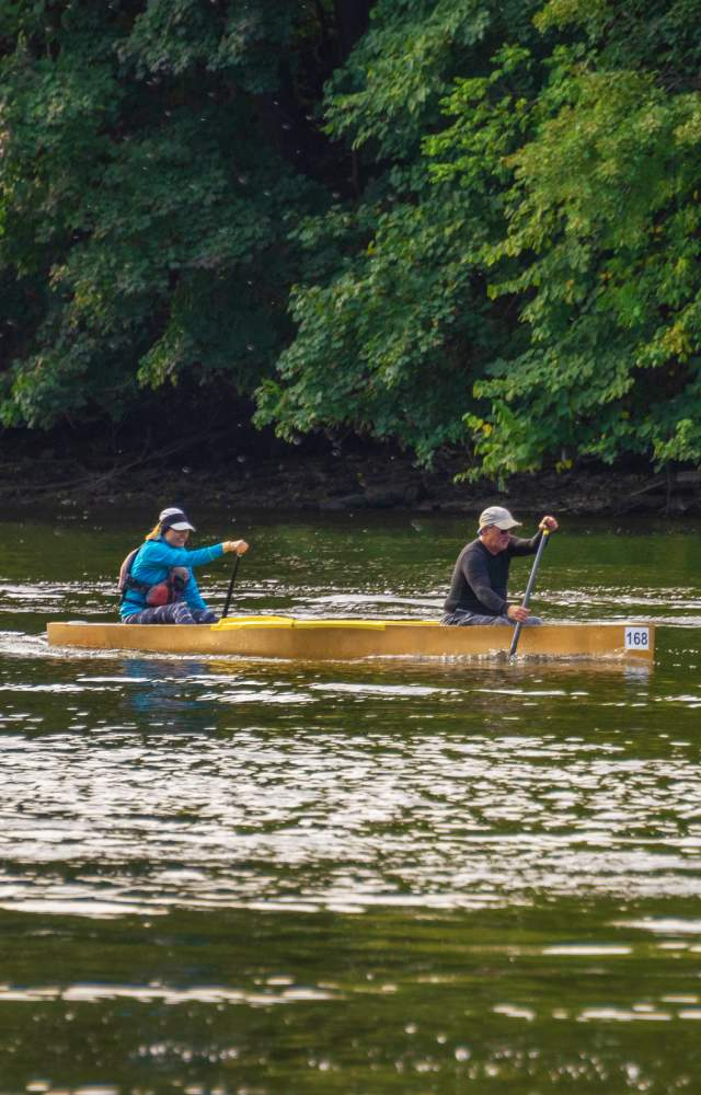 Kayakers racing on the St. Joseph River