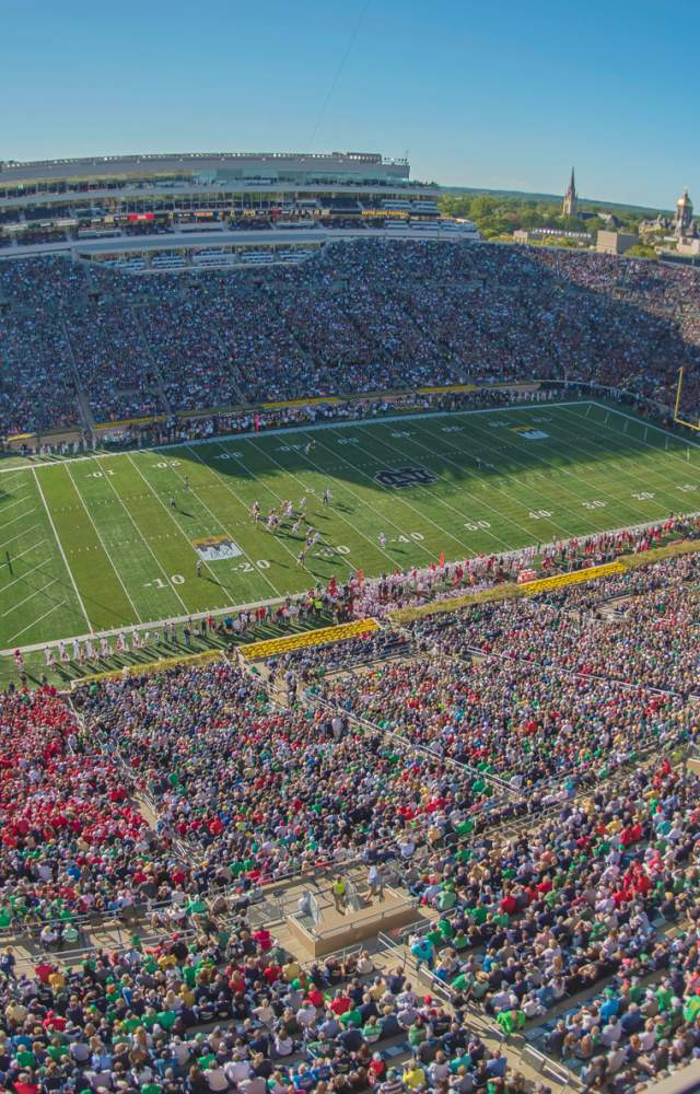 An aerial view of Notre Dame football stadium on gameday