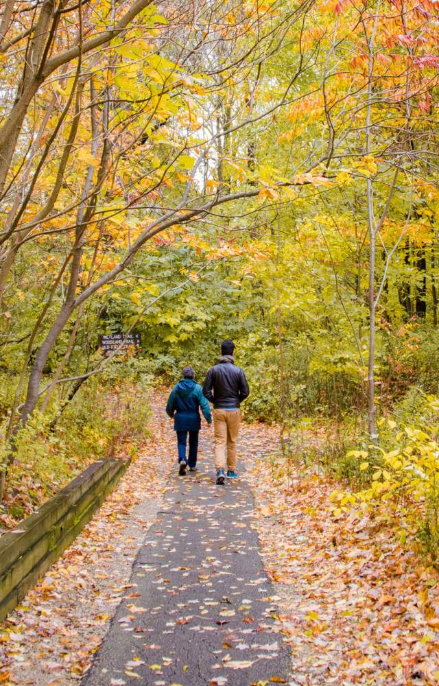 Two people hike down a path at Spicer Lake Nature Preserve with autumn foliage around them