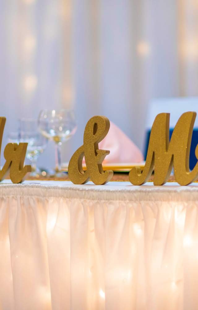 Mr and Mrs signage at a wedding venue
