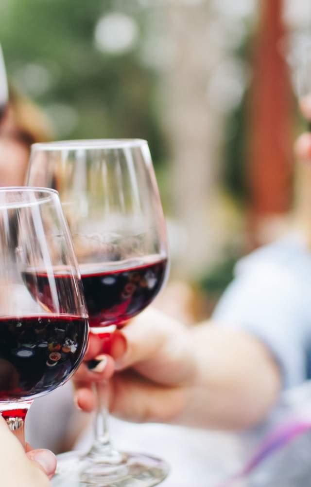 People cheers-ing their wine glasses