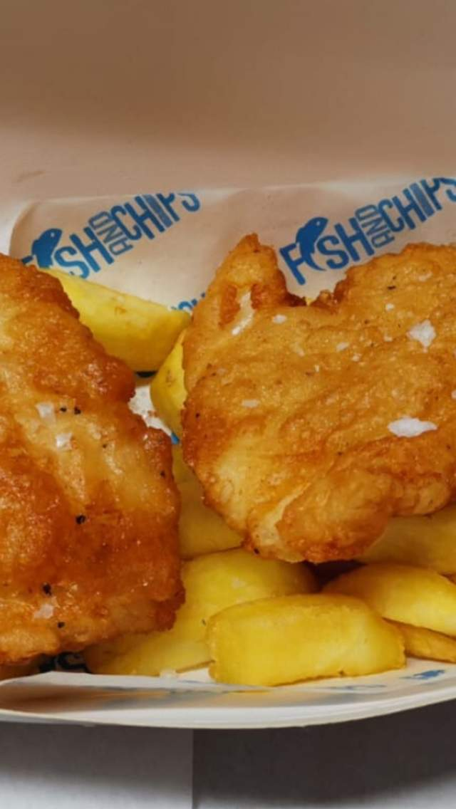 Fish & Chips in a takeaway box