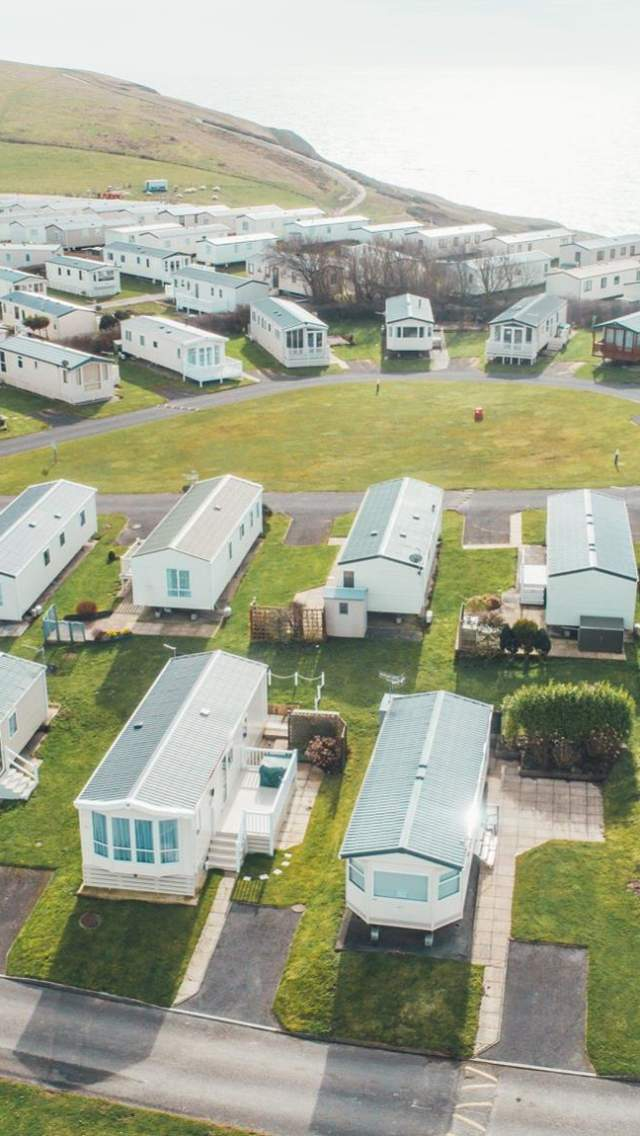 Aerial view over Durdle Door Holiday Park