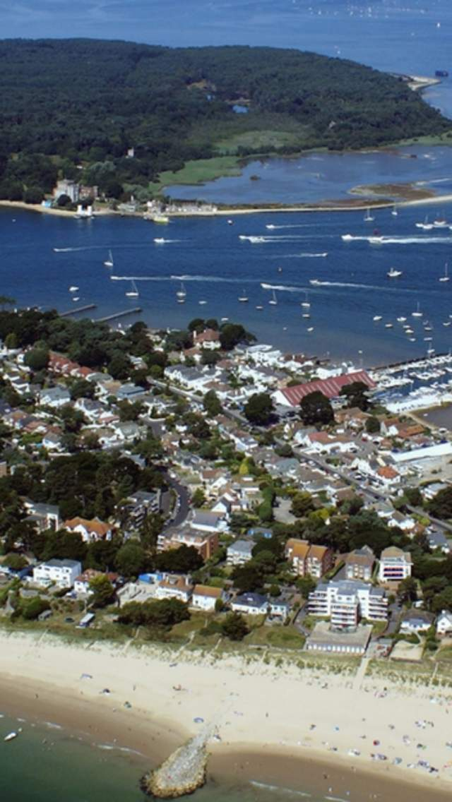 Aerial view of Sandbanks and Poole Harbour
