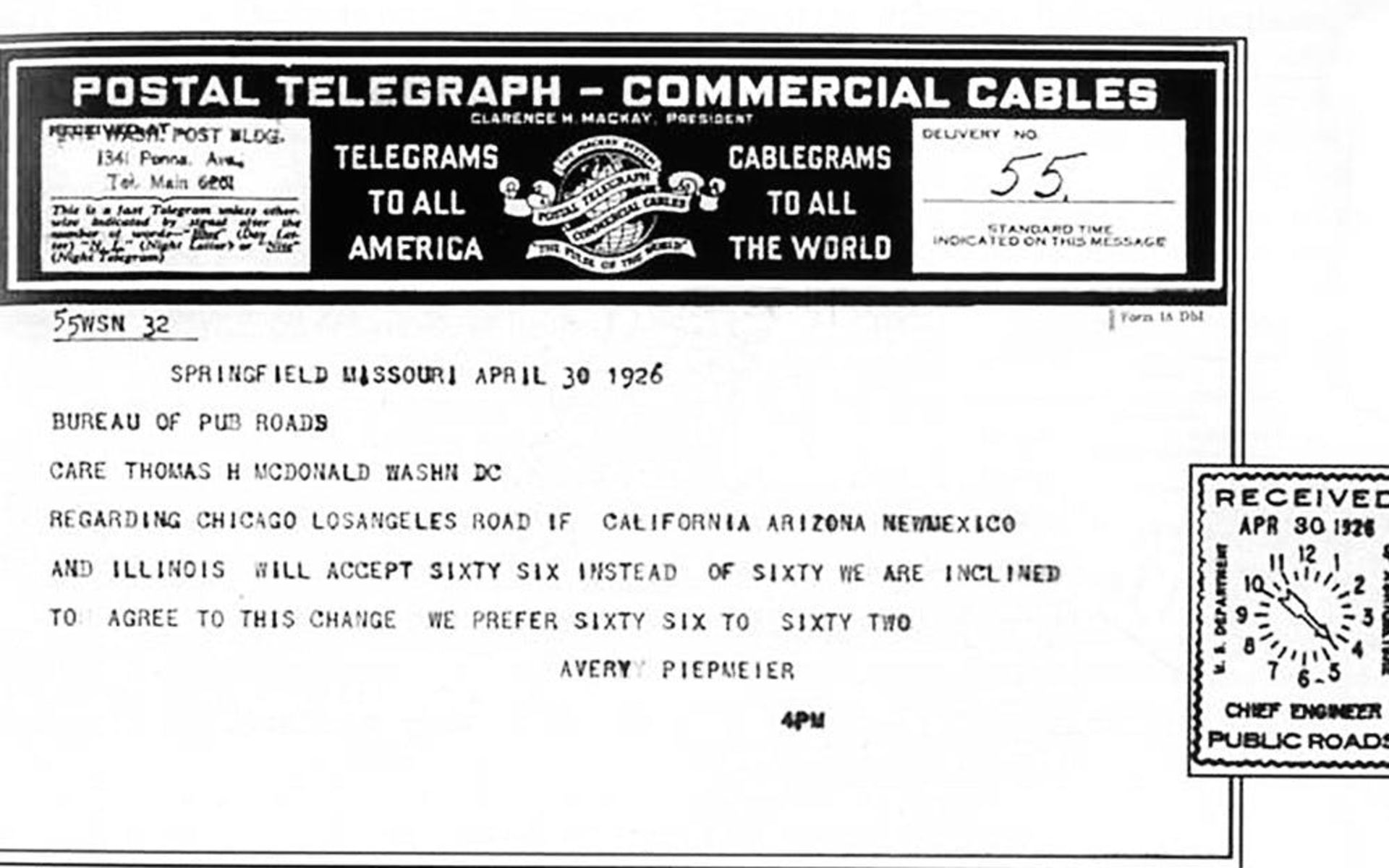 Rt 66 Telegram Birthplace of Rt 66