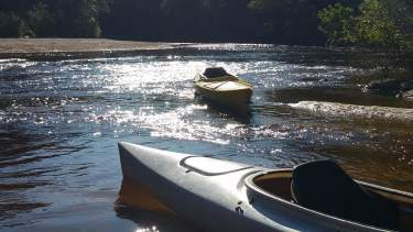 Empty Kayaks in River
