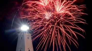 Fireworks over Gulfport lighthouse