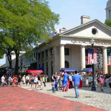 Quincy Market with American Flag