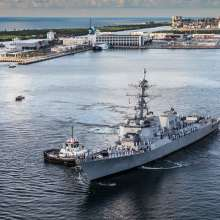 U.S.S. Paul Ignatius arrives at Port Everglades for her commissioning ceremony.