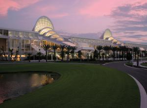 Exterior of the Orange County Convention Center at dusk
