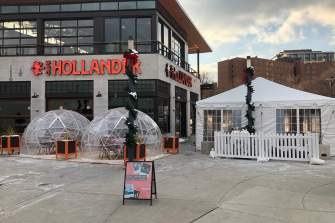 Domes for outdoor winter dining at Cafe Hollander Hilldale Mall