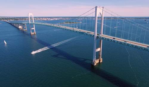 Newport Pell Bridge Drone
