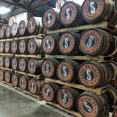 Bourbon Barrels at the Stillwrights Distillery