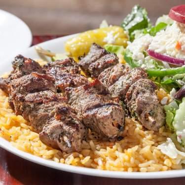 Plate of Greek food from Little Greek Fresh Grill