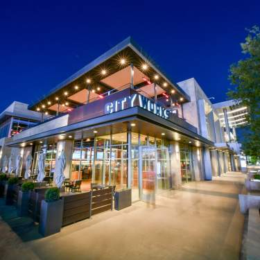 Nighttime photo of the City Works patio