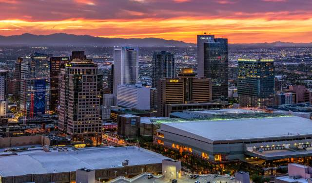 A panorama of downtown Phoenix at sunset