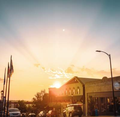 Sunset over Downtown Ely