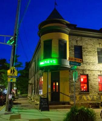 Mickey's Tavern lit up at night