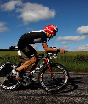 IRONMAN 70.3 athlete biking