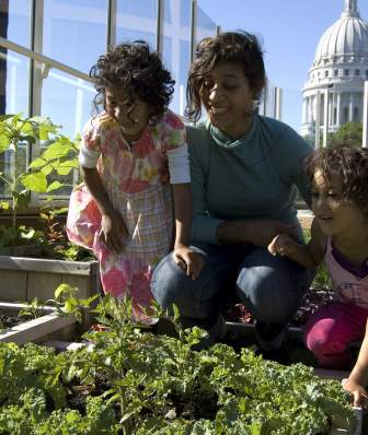 Family on Rooftop garden