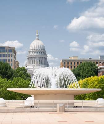 Monona Terrace rooftop fountain with Capitol in background