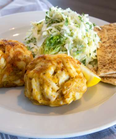 Plate with Jumbo Lump Crab Cakes from Barrett's on the Pike Restaurant