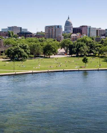 A view of James Madison Park and the skyline, taken from Lake Mendota.