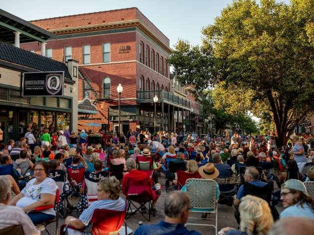 Crowd at Music on Main on Main Street, St. Charles