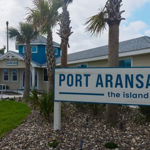 Sign reading Port Aransas the island life
