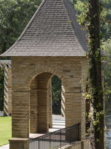 A pavilion overlooking the river at Amerson River Park in Macon, GA