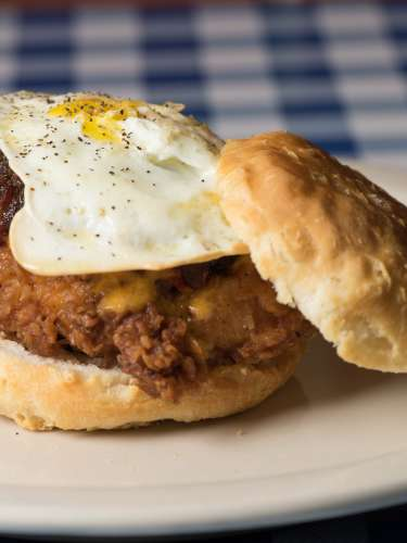 The Midnight Rider Biscuit is just one item from the brunch menu at H&H Soul Food in Macon.