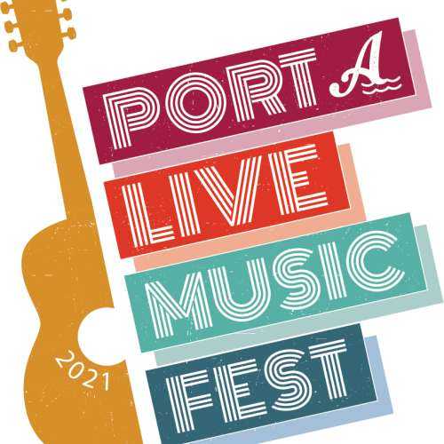 """A logo that is half a guitar in yellow on the left and on the right are four lines of text. """"Port A"""" is at the top in maroon, then """"Live"""" in orange, """"Music"""" in a light teal, and """"Fest"""" in a darker teal."""